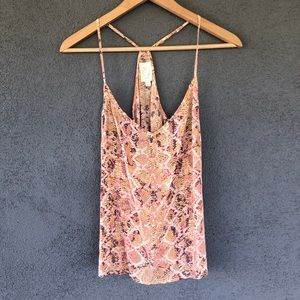 Eloise Pink Silk Snakeskin Animal Print Tank Top